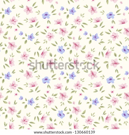 Simple flower pattern. Floral seamless background for your design and scrapbooking . - stock vector
