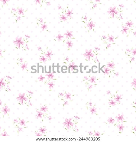 Simple flower pattern. Floral seamless background with polka dots and small floral design - stock vector