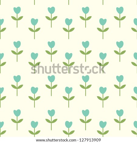 Simple flowers seamless pattern - stock vector