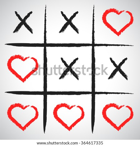 Simple game - X-O game.Hand drawn tic-tac-toe elements.Happy Valentines day symbol.Vector illustration - stock vector