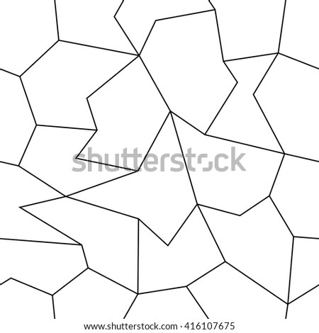 Simple geometric black and white seamless hexagon pattern. Seamless hexagon pattern from the thin lines. - stock vector