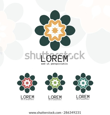 Simple geometric logo template. Modern business icon set. Hexagon round ornament. Vector symbols, emblems, element and logotypes. - stock vector