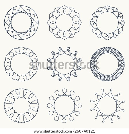 Simple geometric ornaments. Decorative elements. Vector set of circular patterns. - stock vector