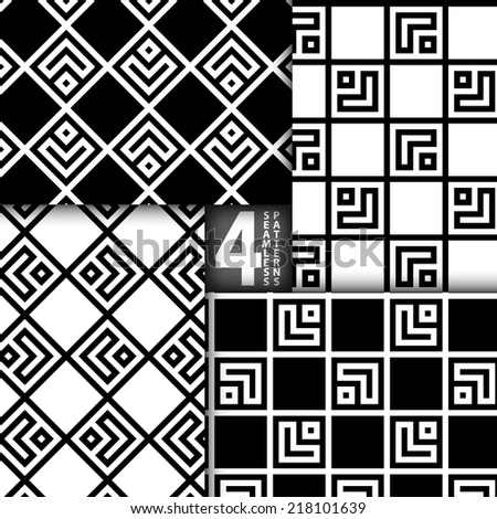 Simple Geometric Square Based Black White Vector Seamless Pattern, Set of 4 - stock vector