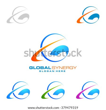 Simple global logo with ring sphere vector logo design - stock vector