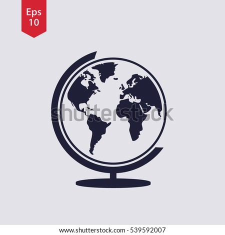 Perfect Simple Globe Icons. Earth Flat Sign. Symbol Of World Map. Vector  Illustration