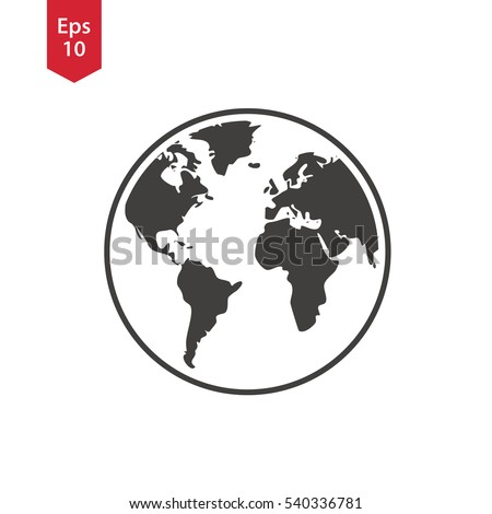 Nice Simple Globe Icons. Earth Flat Sign. Symbol Of World Map. Vector  Illustration