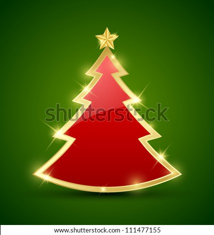 Simple golden and glossy Christmas tree isolated on background - stock vector