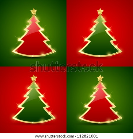 Simple golden and glossy Christmas tree seamless pattern - stock vector