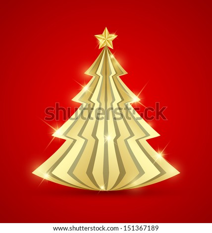 Simple golden Christmas tree with star on top isolated on red background - stock vector