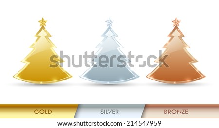 Simple golden, silver and bronze Christmas trees made of precious metals placed on white background - stock vector