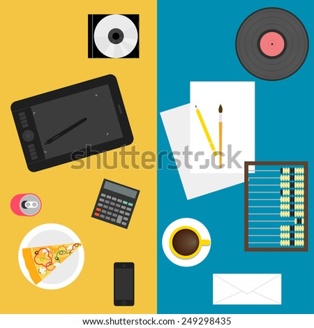 simple graphic illustration in trendy flat style with sets of new and old things used in everyday life of people isolated on blue and yellow background for use in design - stock vector