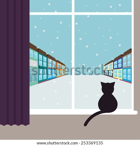 simple graphic illustration with black cat sitting on the window and watching on the snowing city street with bright colored houses for use in design for card, poster, banner, placard or billboard - stock vector