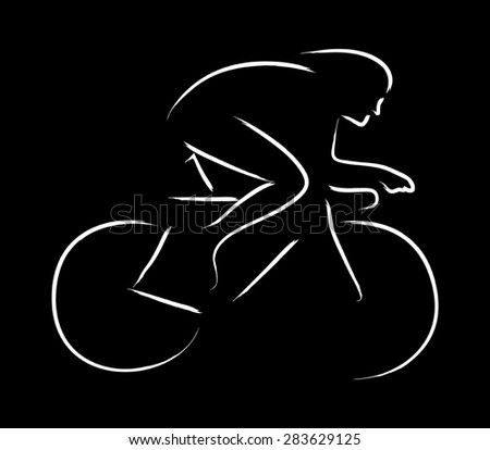 Simple graphic of a cyclist - stock vector