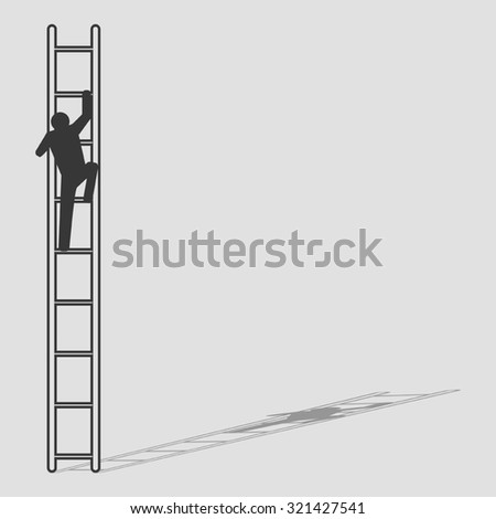 Simple graphic of a man figure climbing the ladder - stock vector