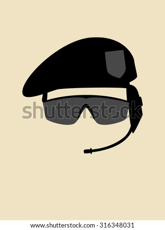 Simple graphic of a man with beret and goggle - stock vector