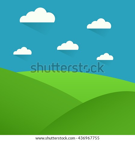 Simple grass, clouds and blue sky vector landscape. - stock vector