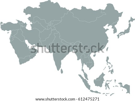simple gray asia map