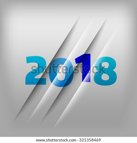 Simple gray background with blue numbers 2018. New Year Design.