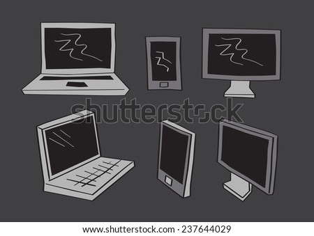 Simple gray scale vector illustration of computer screen, mobile phones and laptop in frontal and three-quarter perspective view - stock vector