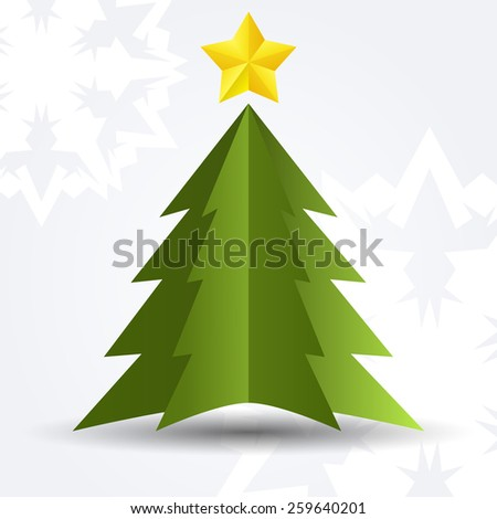 Simple green Christmas tree - stock vector