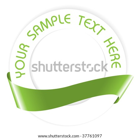 Simple green empty seal or medallion with ribbon - stock vector