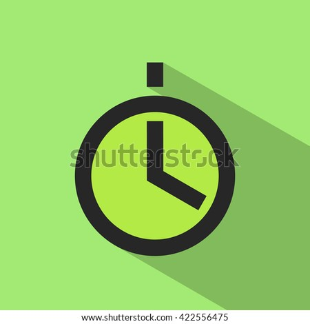 Simple green flat clock icon with long shadow isolated on green background. 24 hour assistance pictograph. Watch symbol for your design. Time icon. Clock arrow. Stopwatch icon. 10 EPS vector - stock vector