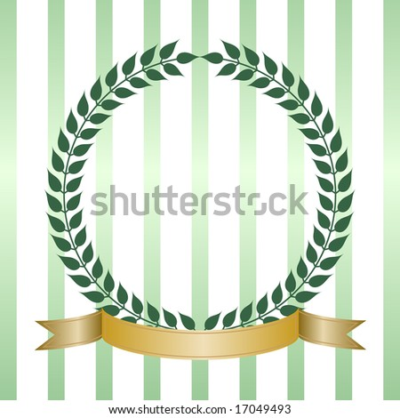 Simple green laurel leaf wreath with blank gold ribbon banner forms a round crest or insignia. Good for product label.