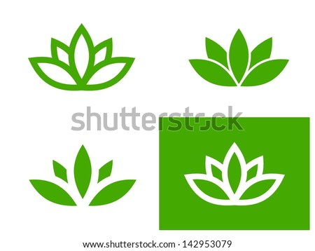 Simple green lotus plant - set of four vector illustrations - stock vector