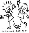 simple hand drawing of cheer up boy and girl - stock vector