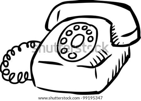 Simple Hand Drawing Old Telephone