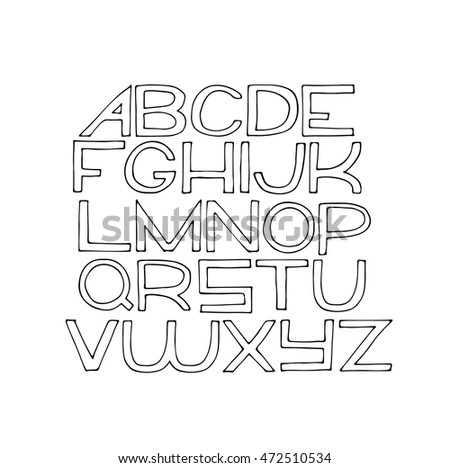 Simple Hand Drawn Alphabet Letters From A To Z With Ink On White Paper