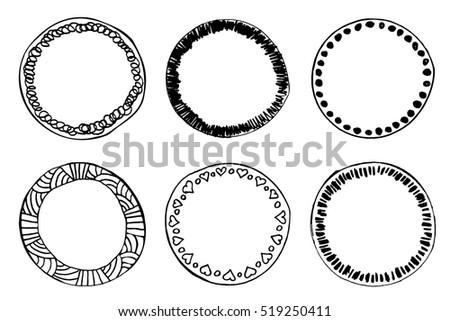 Simple Hand Drawn Circle Template Round Stock Vector 519250411 ...