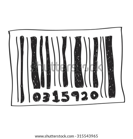 Simple hand drawn doodle of a barcode
