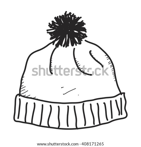 Simple hand drawn doodle of a bobble hat - stock vector