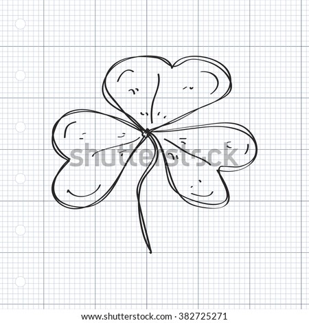 Simple hand drawn doodle of a clover leaf