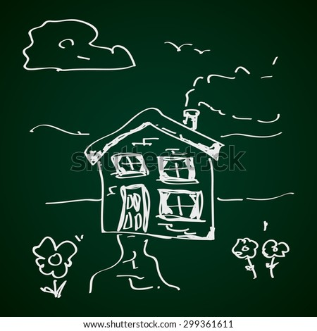 Simple hand drawn doodle of a house