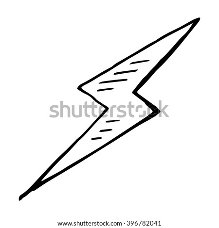 Simple hand drawn doodle of a lightning bolt - stock vector