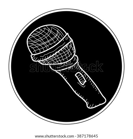 Simple hand drawn doodle of a microphone