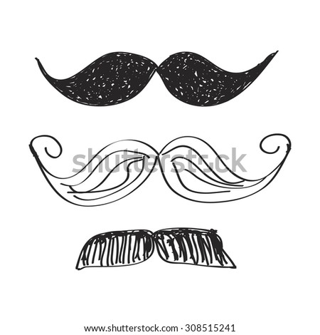 Simple hand drawn doodle of a moustache