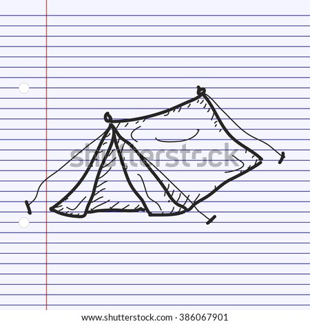 Simple hand drawn doodle of a tent