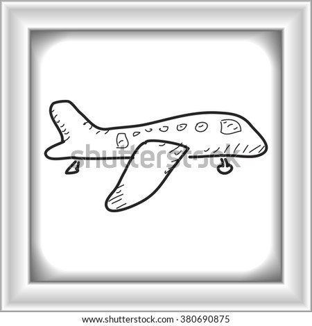 Simple hand drawn doodle of an aeroplane