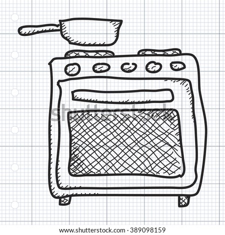 Simple hand drawn doodle of an oven