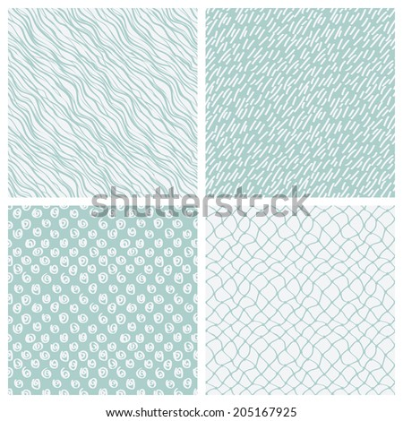 simple hand-drawn seamless patterns set