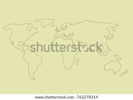 Simple hand drawn world map vector stock vector 762278314 shutterstock simple hand drawn world map vector illustration gumiabroncs Images