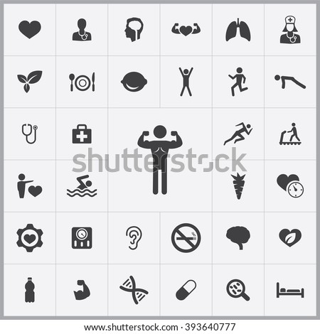 Simple Health Icons Set Universal Health Stock Vector 393640777 ...