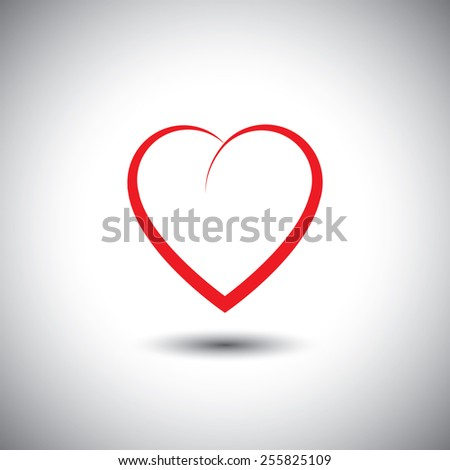simple heart icon representing love emotion - vector icon. This also represents passion, romance, friendship, relationship, bonding, compassion, empathy - stock vector