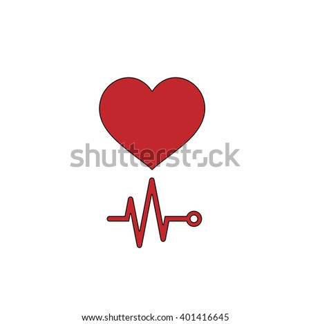 Simple Heart with its cardiogram. Red flat simple modern illustration icon with stroke. Collection concept vector pictogram for infographic project and logo