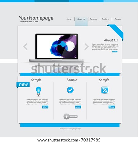 Simple Homepage Template Blue Theme Stock Vector Shutterstock - Homepage template