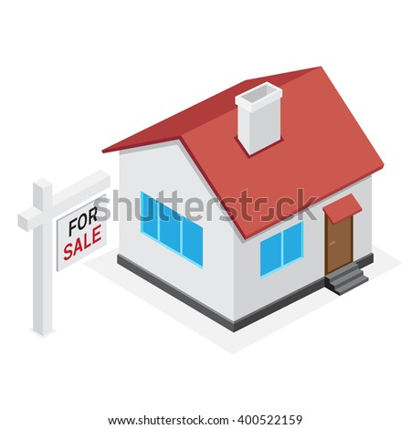 Simple house icon. Home for sale on white background. - stock vector